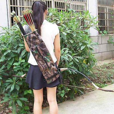 Camo Archery Hunting Bow ARROW BACK/SIDE QUIVER Holder Bag With Zipper Pocket A