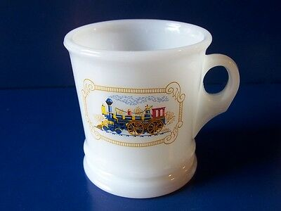 Vintage Avon Milk Glass Shaving Mug Steam Locomotive Train Engine Nice!
