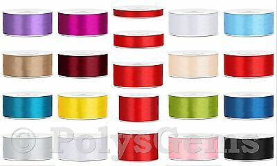 25 Metres FULL REEL DOUBLE SIDED SATIN RIBBON 6mm 12mm 25mm 38mm 50mm