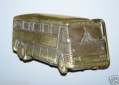 WOW Nice Vintage Greyhound BUS Shaped 3D Heavy Solid Brass Belt Buckle RARE