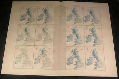 Monthly Rainfall & Air Temperature British Isles Wales c.1901 antique large map