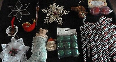 Vintage and more Christmas ornaments  glass cats santa Stars all as shown