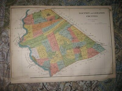 Antique 1899 Dauphin Lebanon County Pennsylvania Map Harrisburg Middletown Gratz
