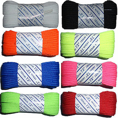 """Colorful Solid Fat Roller Skate Laces 72"""" - Wide Shoe Lace"""