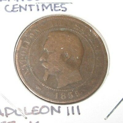 Vintage Antique French France Coin 10 Centimes Napoleon Iii 1855 K