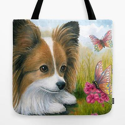 Tote Bag All over print Made in USA Dog 123 Papillon art painting by L.Dumas
