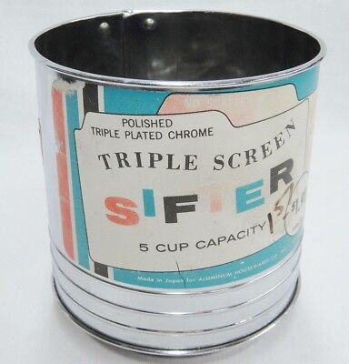 Vintage Triple Screen Plated Chrome Sifter 5 Cup Capacity with Original Label