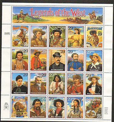 Us  #2869 Legends Of The West Sheet Of 20 Vf Nh