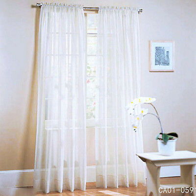 White Lace Solid Curtain Curtain Voile Netting Blind Long Sheer 100 x 200cm New