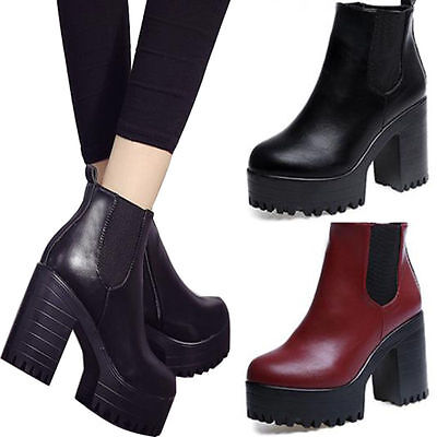 Womens Ladies Chelsea Platform Mid High Chunky Block Heel Ankle Boots Shoes Size