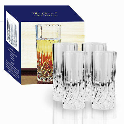 4 X 250ml Orchestra Crystal Hi-Ball Dinner Tumblers Drink Glasses Dining Cups