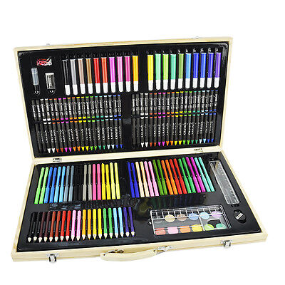180pc Wooden Box Artist Set Deluxe Art Oil Pencils Pens Markers Paints Crayons