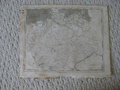 Antique 1804 Germany North Of Mayn River Arrowsmith & Lewis Copperplate Map Rare