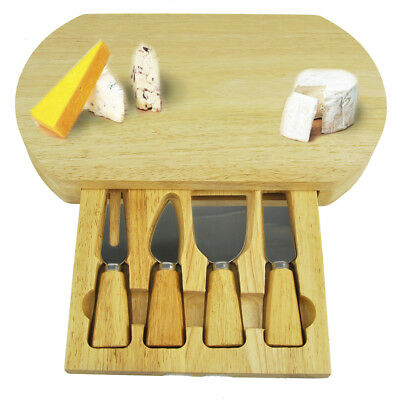 Slide Out Drawer Wooden Cheese Board & Knife Service Set with Specialist Knives