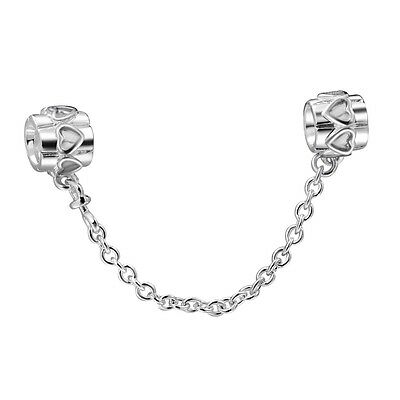 925 Sterling Silver Genuine Safety Chain Style Bead Charm For European Bracelet