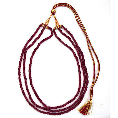 """3 strand 4mm faceted ruby red jade rondelle beads necklace 18"""""""
