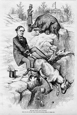 Republican Elephant Democratic Donkey First Appearance Together  By Thomas Nast