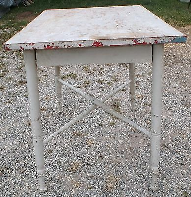 "Antique 1920's Farm House Table Stand 30"" x 22 3/4"" x 29"" Tall Primitive"