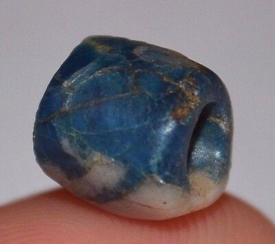 Rare Ancient Blue Scorzalite Stone Bead From Mauritania, Africa