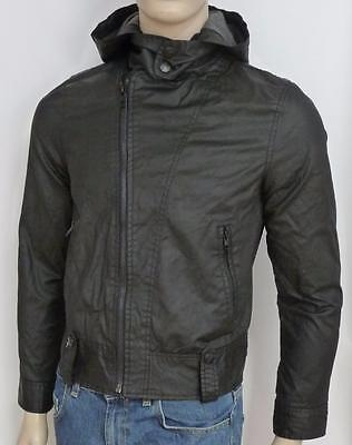 Legendary Goods Hooded Motorcycle Jacket Mens Black Waxed Cotton Canvas NWT S
