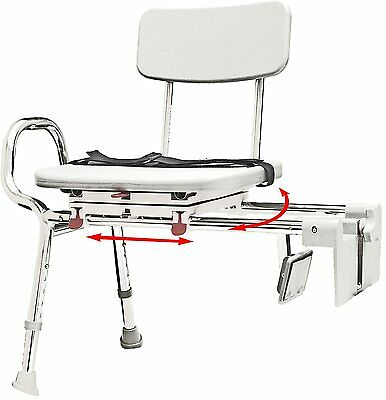 Eagle 77762 Snap-N-Save Sliding Tub-Mount Transfer Bench with Swivel Seat