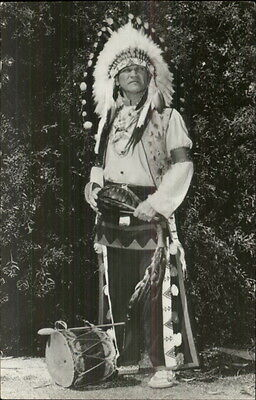 Native American Indian in Full Dress w/ Drum - Real Photo Postcard