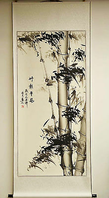 """New Asian Chinese Scroll Painting Black & White Bamboo Feng Shui Home Decor 68""""L"""