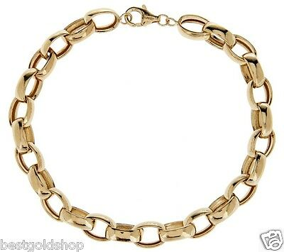 """Polished Oval Rolo Bracelet Real 14K Yellow Gold ALL SIZES  6"""" to 8 1/2"""" QVC"""
