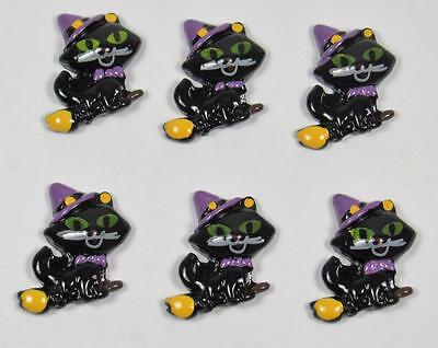 BB FLATBACKS CATS as a WITCH pk of 6 HALLOWEEN cabochons resin flatback