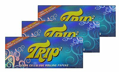 Trip2 King Size Clear Cellulose Cigarette Rolling Papers - Lot Of 6 Packs