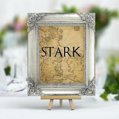 Game of Thrones Theme Wedding Table Numbers Names Map Westeros Ornate Frame