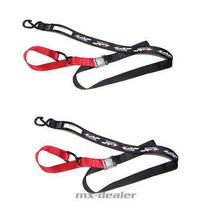 ZAP Motocross Spanngurte MX Tie downs rot schwarz 2 teilig Enduro Quad soft hook