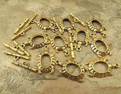 Ten (10) Gold Tone Pewter Turtle Toggle Clasps - 5097