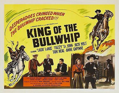 LASH LaRUE And FUZZY ST JOHN In KING OF THE BULLWHIP 11x14 print 1950