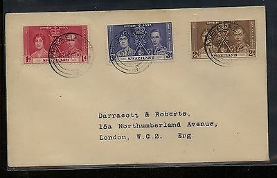 Swaziland  coronation cover to England  1937      KL1027