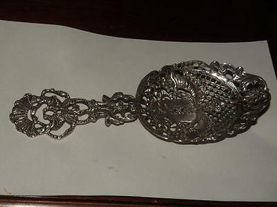 ANTIQUE DUTCH SILVER AMSTERDAM pierced souvenir ornate repousse spoon cornucopia