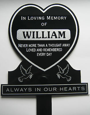 Memorial Plaque Grave Heart Personalised ANY NAME In Loving Memory Graveside