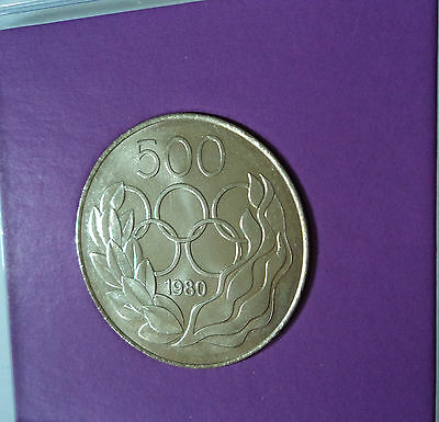 1980 Cyprus 500 Mils Moscow Olympics Olympic Games Commemorative Coin in Display