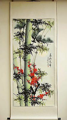 """Asian Chinese Scroll Painting Bamboo Cherry Blossom Pine Tree Home Decor 68""""L"""