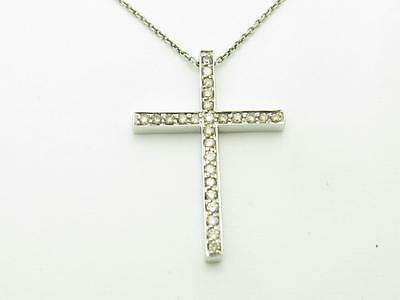 14k Solid White Gold Genuine Diamond Vintage Design Pave Cross Necklace New Gift