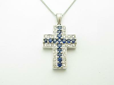 14k Solid White Gold Genuine Diamond Blue Sapphire Vintage Design Cross Necklace