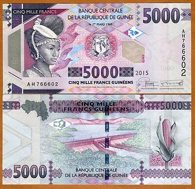 Guinea, 5000 (5,000) francs, 2015, Pick New, UNC > Redesigned