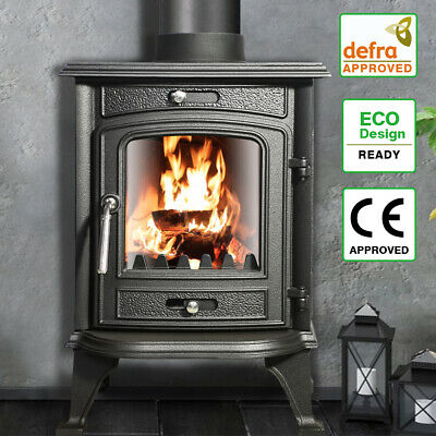 7.5KW Multifuel Wood Burning Log Cast Iron WoodBurner Stove Fireplace New