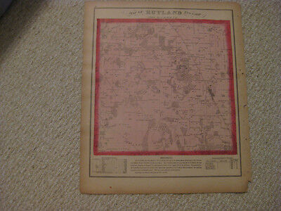 Antique 1871 Rutland Township Kane County Illinois Handcolor Map Gilbert Station