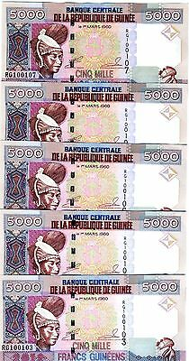 LOT Guinea, 5 x 5000 (5,000) Francs, 2012, P-41 (41b), UNC