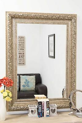 Large Wall Mirror 3ft10 x 2ft10 V Vintage Style Silver Handmade Rectangle Resin
