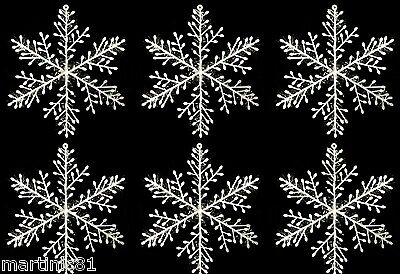6 Iridescent Snowflake 20Cm Christmas Decorations Frozen Table Set Snowflakes