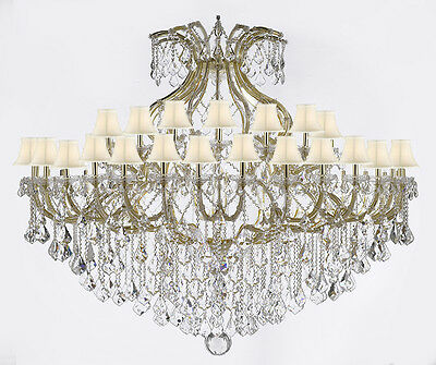 "Maria Theresa Crystal Chandelier Lighting H 60"" W 72"" With White Shades!"