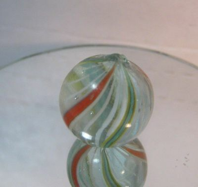 Vintage Ribbon Swirl Hand Made Glass Marble    T*