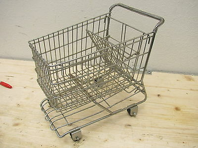 Small Doll Size Chrome Metal Grocery Shopping Cart Push Toy Vintage